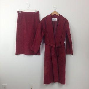 Vtg 70s Orange Suede Skirt Trench long jacket